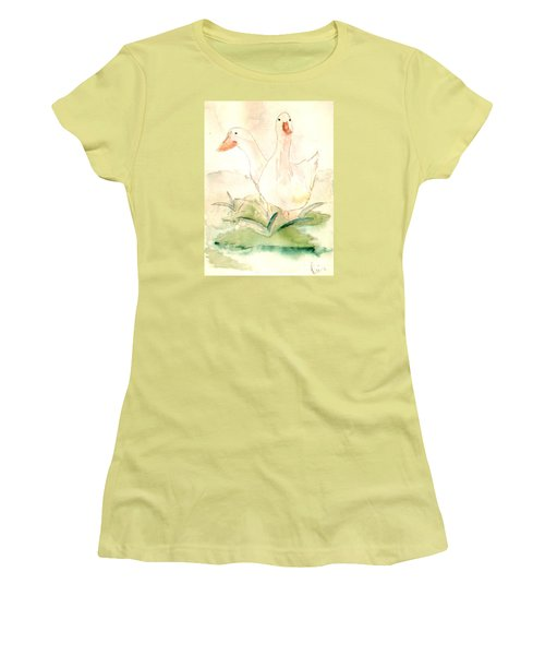 Women's T-Shirt (Junior Cut) featuring the painting Pretty Pekins by Denise Tomasura
