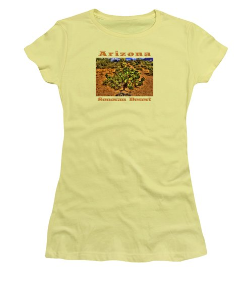Prickly Pear In Bloom With Brittlebush And Cholla For Company Women's T-Shirt (Junior Cut) by Roger Passman