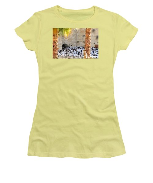 Women's T-Shirt (Junior Cut) featuring the photograph Prayer Of Shaharit At The Kotel During Sukkot Festival by Yoel Koskas