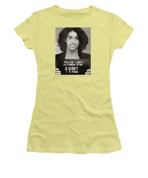 Prince Mug Shot Vertical Women's T-Shirt (Junior Cut) by Tony Rubino