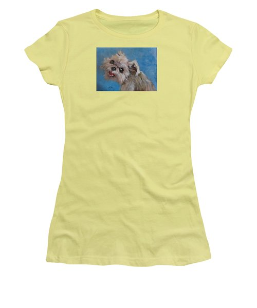 Pudgy Smiles Women's T-Shirt (Junior Cut) by Barbara O'Toole