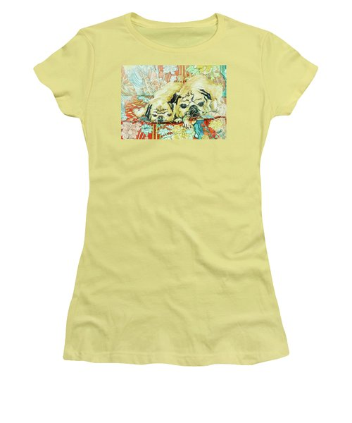 Pugs On A Chinese Print Sofa Women's T-Shirt (Junior Cut) by Joan Thewsey