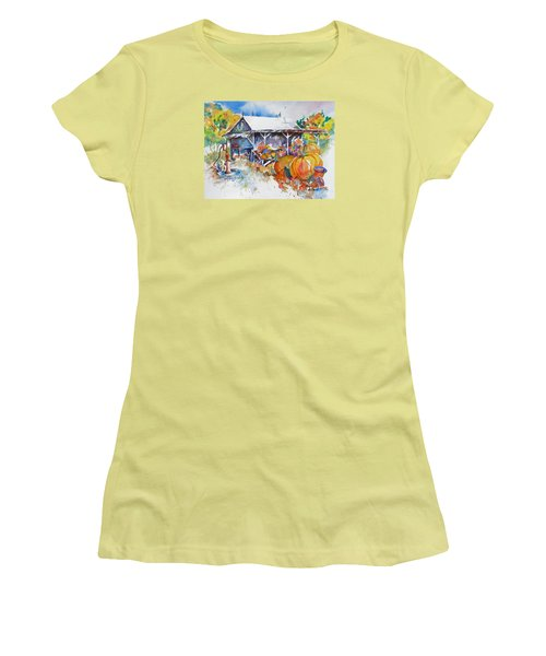 Women's T-Shirt (Junior Cut) featuring the painting Pumpkin Time by Mary Haley-Rocks