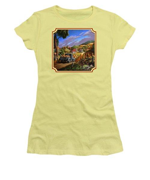 Pumpkins Farm Folk Art Fall Landscape - Square Format Women's T-Shirt (Junior Cut) by Walt Curlee