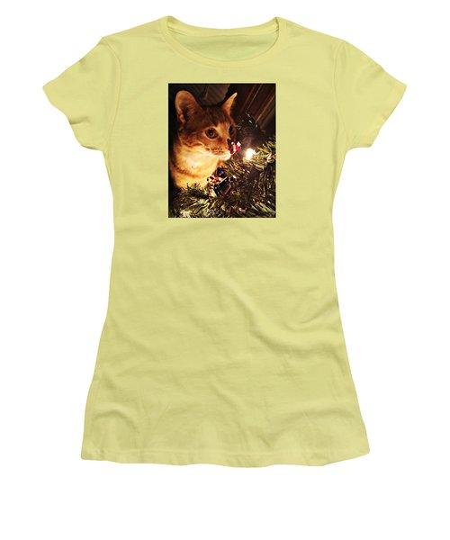 Pumpkin's First Christmas Tree Women's T-Shirt (Junior Cut) by Kathy M Krause