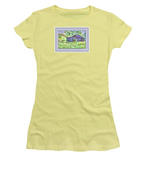Women's T-Shirt (Junior Cut) featuring the photograph Purple Barn Grey Border by Shirley Moravec