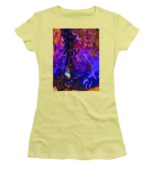 Women's T-Shirt (Athletic Fit) featuring the painting Purple Cave by Joan Reese