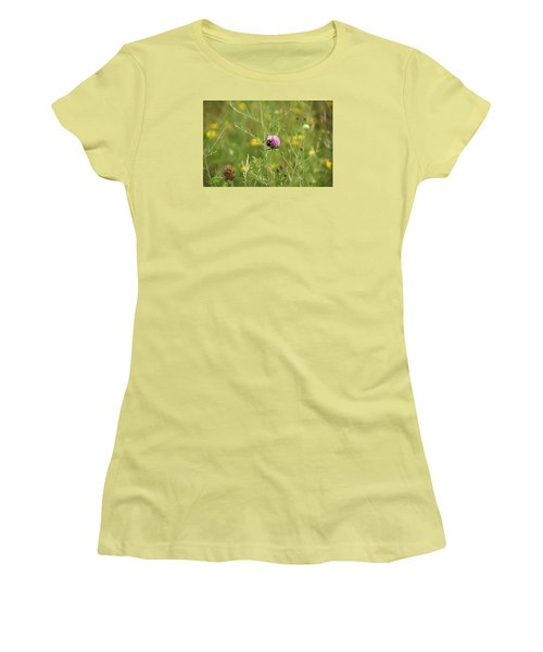 Purple Flower And Bee Women's T-Shirt (Athletic Fit)