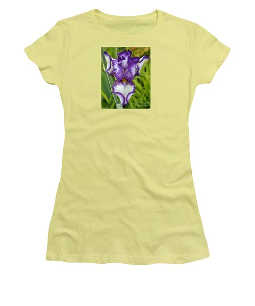 Purple Iris Art Women's T-Shirt (Athletic Fit)