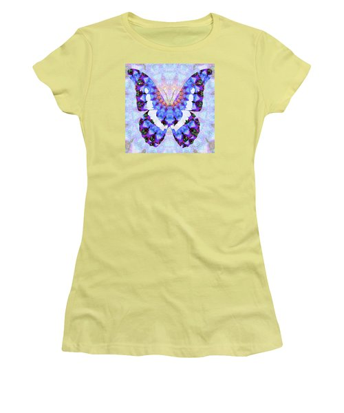 Women's T-Shirt (Athletic Fit) featuring the painting Purple Mandala Butterfly Art By Sharon Cummings by Sharon Cummings