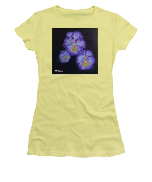 Women's T-Shirt (Junior Cut) featuring the painting Purple Pansies by Rod Jellison