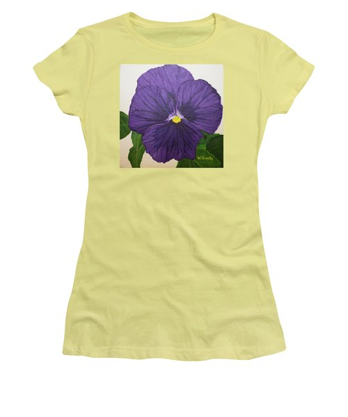 Purple Pansy Women's T-Shirt (Junior Cut) by Wendy Shoults