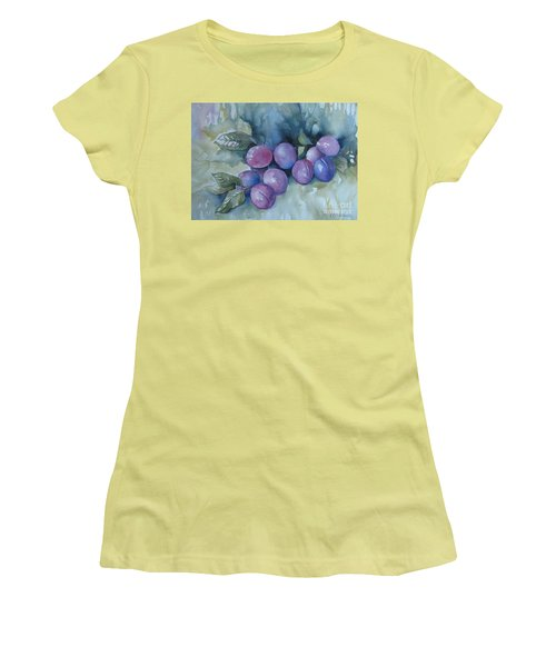 Women's T-Shirt (Junior Cut) featuring the painting Purple Plums by Elena Oleniuc