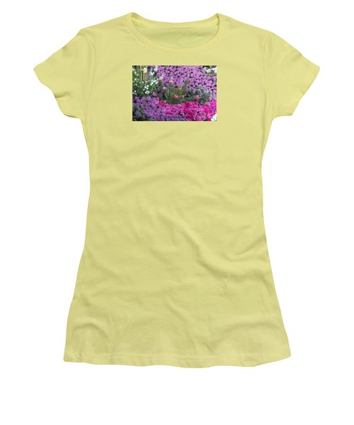 Purple Roses, Pinks And White Women's T-Shirt (Athletic Fit)