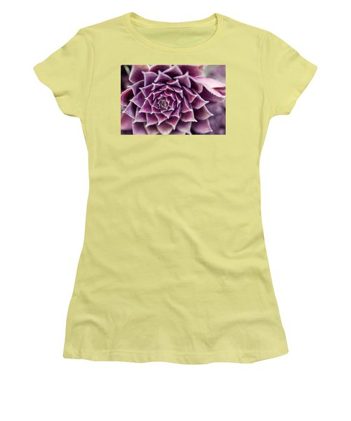 Women's T-Shirt (Junior Cut) featuring the photograph Purple Succulent Plant Blossom In Summer by Jingjits Photography