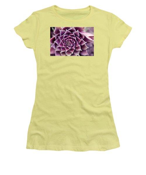 Purple Succulent Plant Blossom In Summer Women's T-Shirt (Junior Cut) by Jingjits Photography
