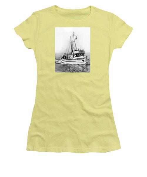 Purse Seiner Western Flyer On Her Sea Trials Washington 1937 Women's T-Shirt (Athletic Fit)