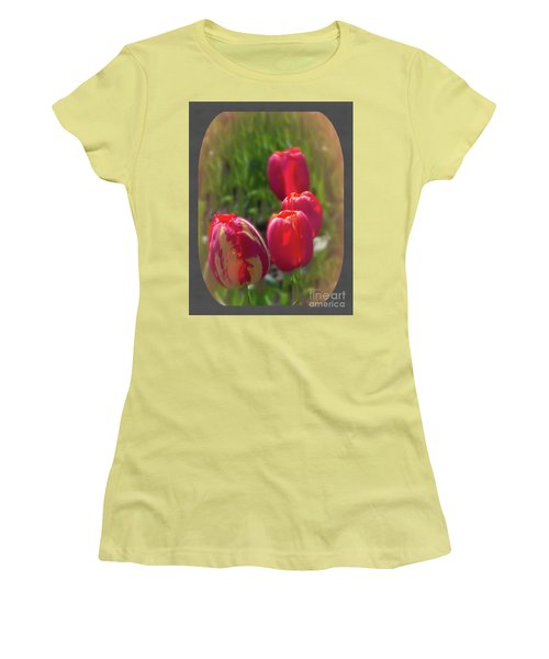 Quad Tulips Women's T-Shirt (Athletic Fit)