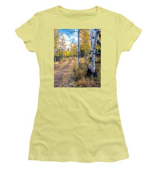 Aspens In Fall With Road Women's T-Shirt (Junior Cut) by John Brink