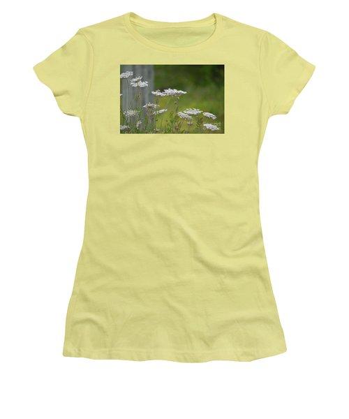 Queen Anne Lace Wildflowers Women's T-Shirt (Junior Cut) by Maria Urso