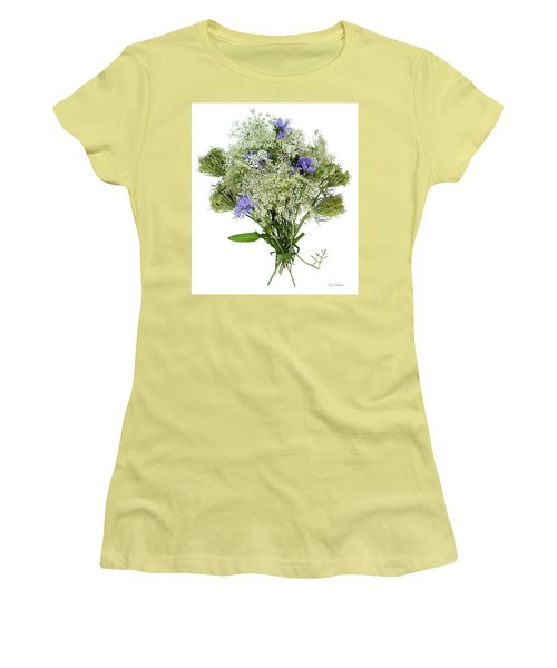 Queen Anne's Lace With Purple Flowers Women's T-Shirt (Junior Cut) by Lise Winne