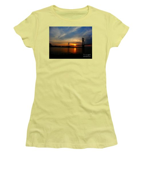 Quincy Bay View Bridge Sunset Women's T-Shirt (Junior Cut) by Justin Moore