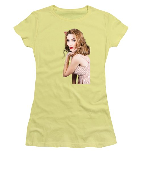 Quirky Portrait Of A Posing 50s Girl In Pinup Style Women's T-Shirt (Junior Cut) by Jorgo Photography - Wall Art Gallery