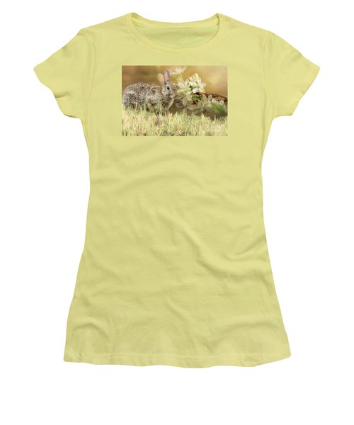 Eastern Cottontail Rabbit In Grass Women's T-Shirt (Athletic Fit)
