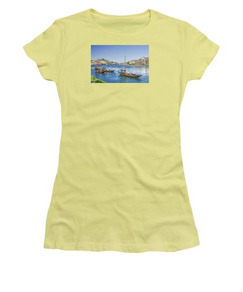 Women's T-Shirt (Junior Cut) featuring the photograph Rabelos On The Douro by Brian Tarr
