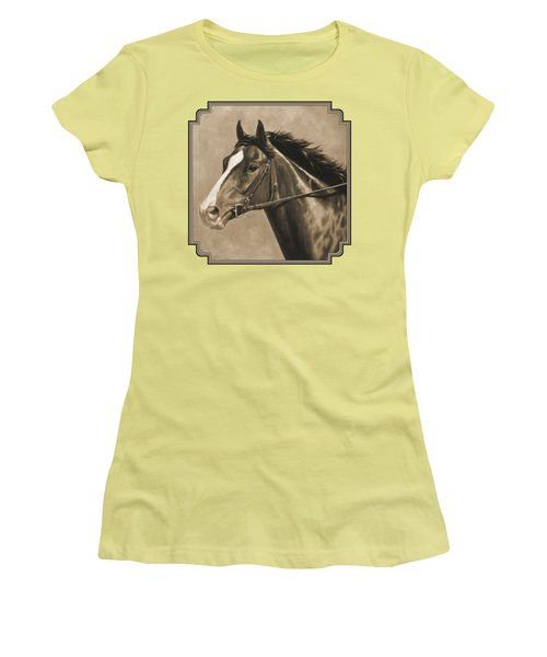 Racehorse Painting In Sepia Women's T-Shirt (Athletic Fit)
