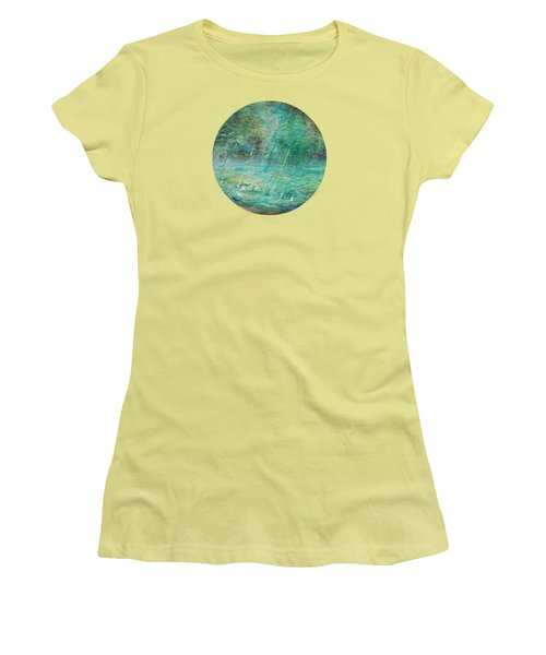 Women's T-Shirt (Junior Cut) featuring the painting Rain On The Pond by Mary Wolf