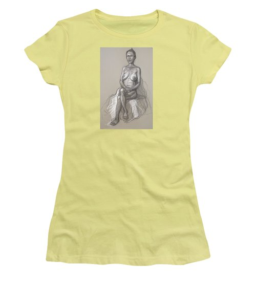 Women's T-Shirt (Junior Cut) featuring the drawing Rain Seated #2 by Donelli  DiMaria