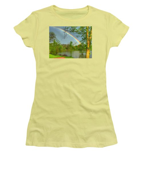 Rainbow At The Lake Women's T-Shirt (Junior Cut) by Sumoflam Photography