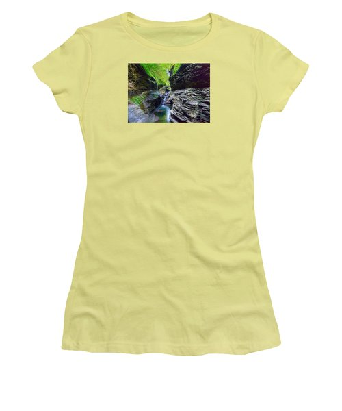 Women's T-Shirt (Athletic Fit) featuring the photograph Rainbow Bridge And Falls by Rodney Campbell