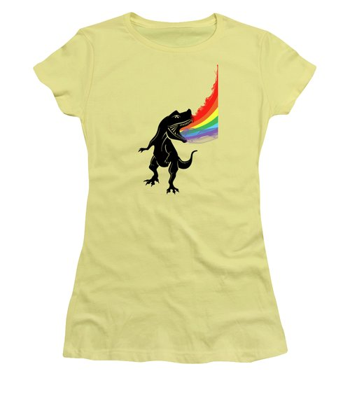 Rainbow Dinosaur Women's T-Shirt (Junior Cut) by Mark Ashkenazi
