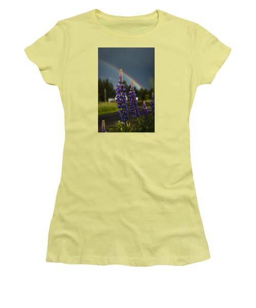 Rainbow Over Lupine  Women's T-Shirt (Athletic Fit)