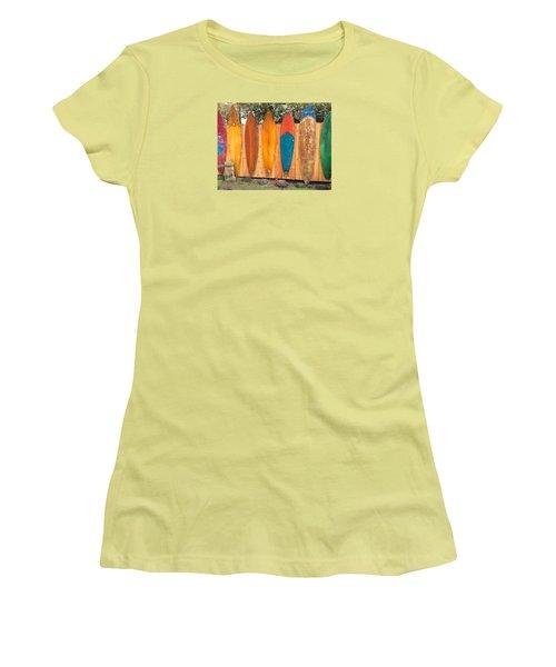 Surfboard Rainbow Women's T-Shirt (Junior Cut) by Brenda Pressnall