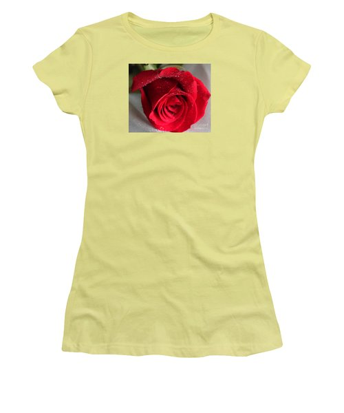 Raindrops On Roses Women's T-Shirt (Junior Cut) by Rita Brown