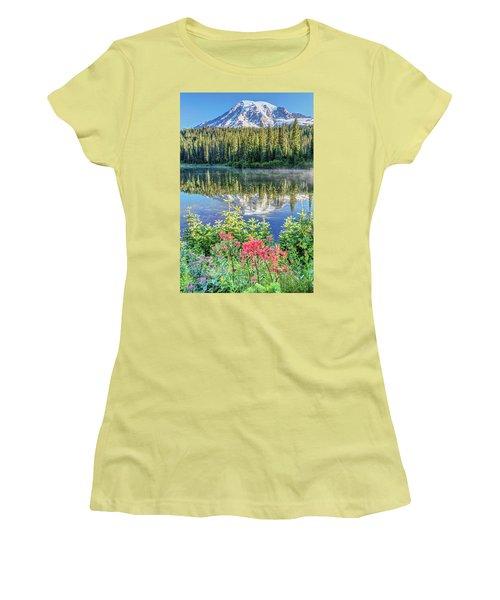 Rainier Wildflowers At Reflection Lake Women's T-Shirt (Junior Cut) by Pierre Leclerc Photography