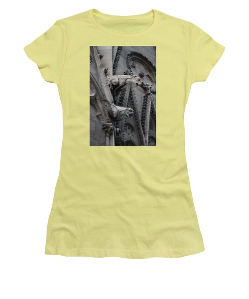 Ram And Eagle Griffon Notre Dame Women's T-Shirt (Junior Cut) by Christopher Kirby