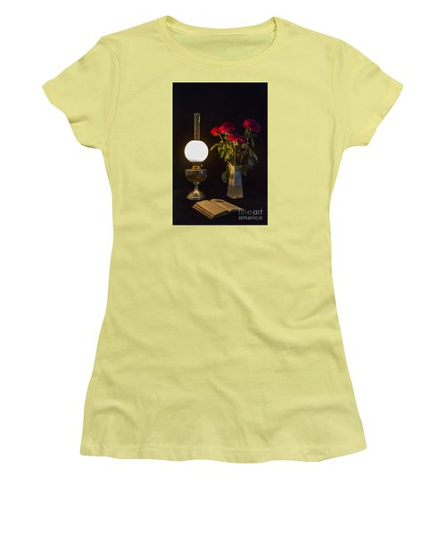 Reading By Oil Lamp Women's T-Shirt (Athletic Fit)