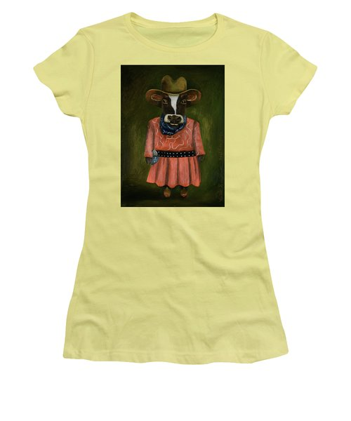 Women's T-Shirt (Junior Cut) featuring the painting Real Cowgirl by Leah Saulnier The Painting Maniac