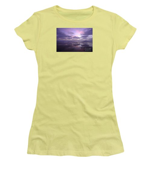 Women's T-Shirt (Athletic Fit) featuring the photograph Cardiff By The Sea Reflections by John F Tsumas