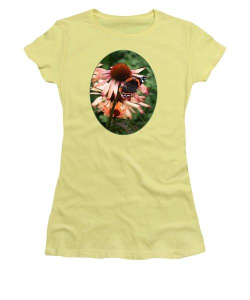 Red Admiral On Coneflower Women's T-Shirt (Junior Cut) by Gill Billington