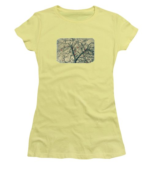 Red Apples In Empty Garden Women's T-Shirt (Junior Cut) by Konstantin Sevostyanov