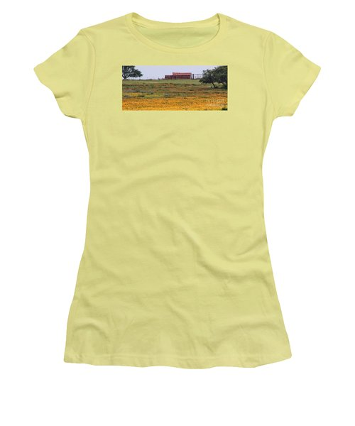 Red Barn In Wildflowers Women's T-Shirt (Junior Cut) by Toma Caul