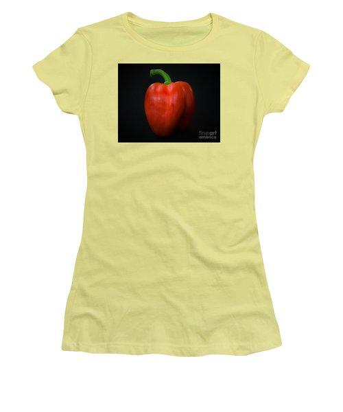 Red Bell Pepper Women's T-Shirt (Junior Cut) by Ray Shrewsberry