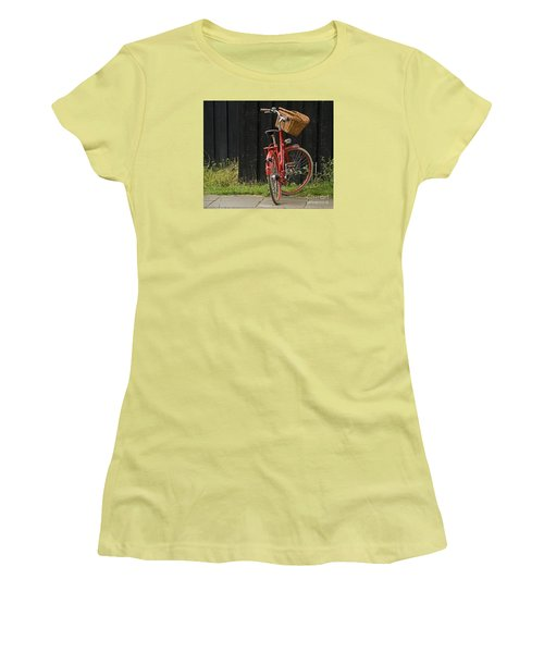 Women's T-Shirt (Junior Cut) featuring the photograph Red Bike by Inge Riis McDonald