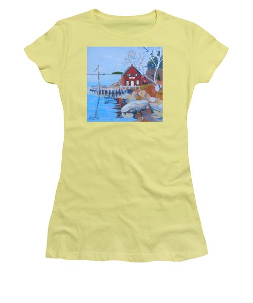 Women's T-Shirt (Junior Cut) featuring the painting Red Boat House by Francine Frank