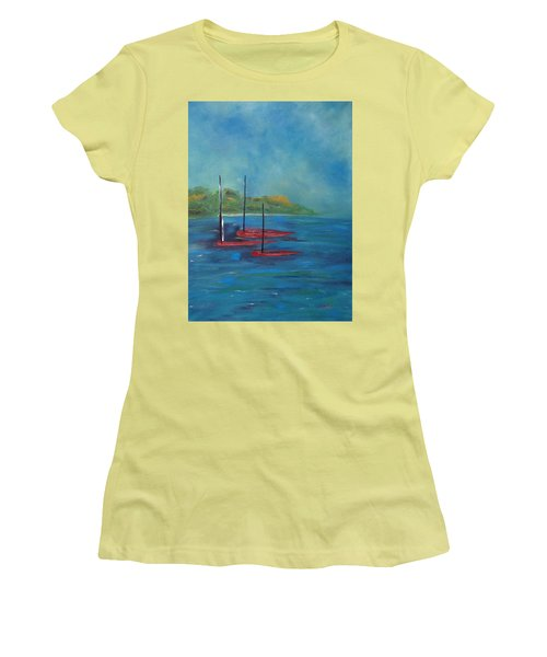 Women's T-Shirt (Athletic Fit) featuring the painting Red Boats by Judith Rhue